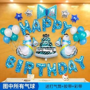 Bộ happy birthday cho bé sinh năm gà ( màu xanh bé trai)
