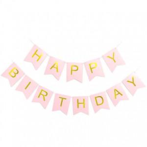 Dây cờ sinh nhật happy birthday màu hồng