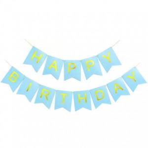 Cờ đuôi cá màu xanh happy birthday