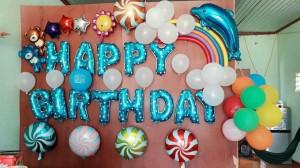 Dây chữ happybirthday màu xanh dương