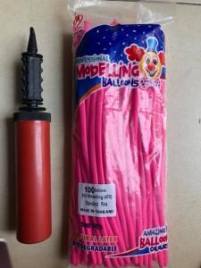 Bóng bay giun màu hồng- vặn hình nghệ thuật