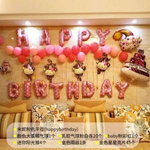 Bộ chữ happy birthday khỉ hồng – bé gái