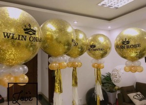 Bóng to nhũ vàng in chữ size 36′