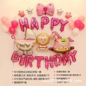 Bộ bóng chữ happy birthday trang trí sinh nhật đủ phụ kiện + tặng kèm bơm tay và băng dính
