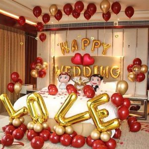 Bộ bóng bay trang trí phòng cưới tông đỏ rượu vàng MS01