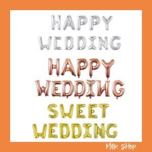 set bong bóng kiếng chữ happy wedding 6 màu