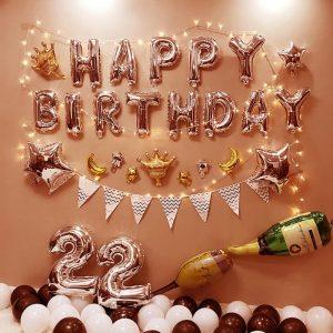 Combo bộ chữ happy birthday trang trí sinh nhật tông hồng A92
