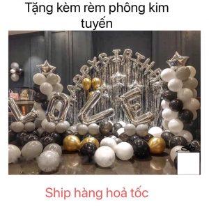 ĐỒ TRANG TRÍ BÓNG BAY TRANG TRÍ SINH NHẬT MK10 MÀU BẠC + Tặng Kèm Rèm Kim Tuyến Bạc