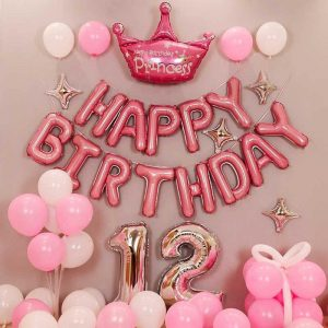 Set bóng bay trang trí sinh nhật đẹp tông hồng A90