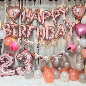 Bộ bóng bay chữ trang trí sinh nhật đủ phụ kiện Tông Hồng A89