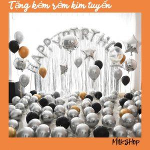 ĐỒ TRANG TRÍ BÓNG BAY TRANG TRÍ SINH NHẬT MK05 MÀU BẠC + Tặng Kèm Rèm Kim Tuyến Trang Trí