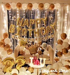 Set bóng bóng sinh nhật tông vàng MP-06 TẶNG KÈM ĐẦY ĐỦ PHỤ KIỆN- TÙNG ANH STORE