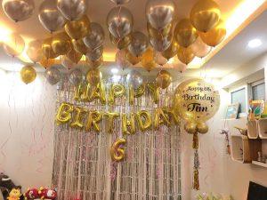 Bộ Bóng Bay Trang Trí Sinh Nhật Tông Vàng Bac MS555 shop decor trọn gói