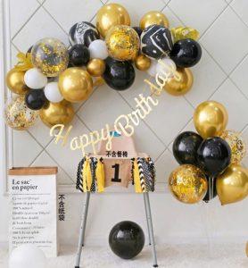 Set bóng bay trang trí sinh nhật tông vàng đen MS200