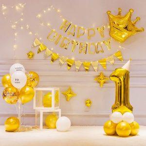 Set bóng bay trang trí sinh nhật Mẫu Mới Sang Trọng Màu Bạc/ Vàng LK056