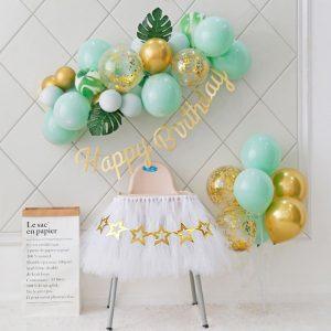 Set bóng bay trang trí sinh nhật tại nhà tông xanh mint MM488